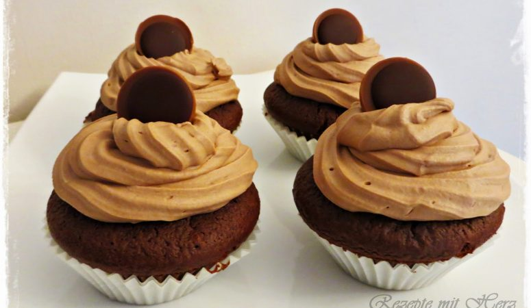 Schoko Muffins mit Nuss-Nougat Topping