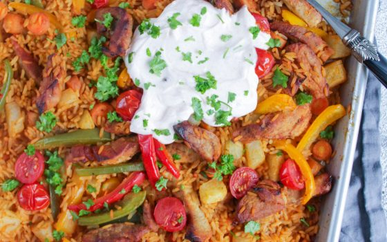 Gemüse-Reis-Pfanne vom Blech