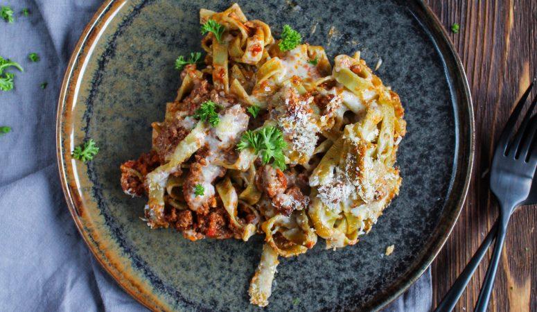 Lasagne mal anders mit Parmesan-Panko Kruste