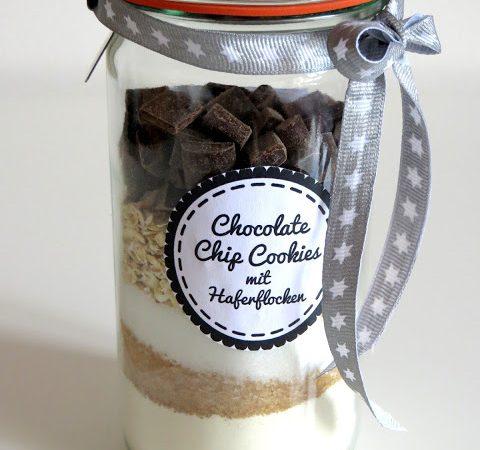 Backmischung im Glas : Chocolate Chip Cookies mit Haferflocken ♡