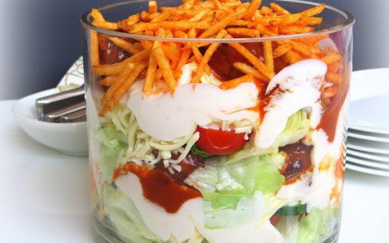 Hackbällchen Schichtsalat
