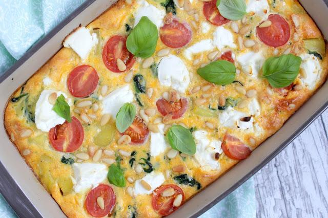 Ofenfrittata mit Tomaten, Spinat & Ricotta