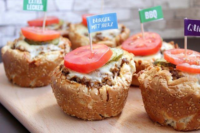 Mini Cheeseburger aus der Muffinform