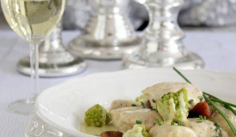 Hähnchen in Weißweinsauce mit Maronen