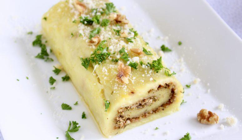 Kartoffel – Parmesan – Rolle mit Kräuter – Nuss – Füllung