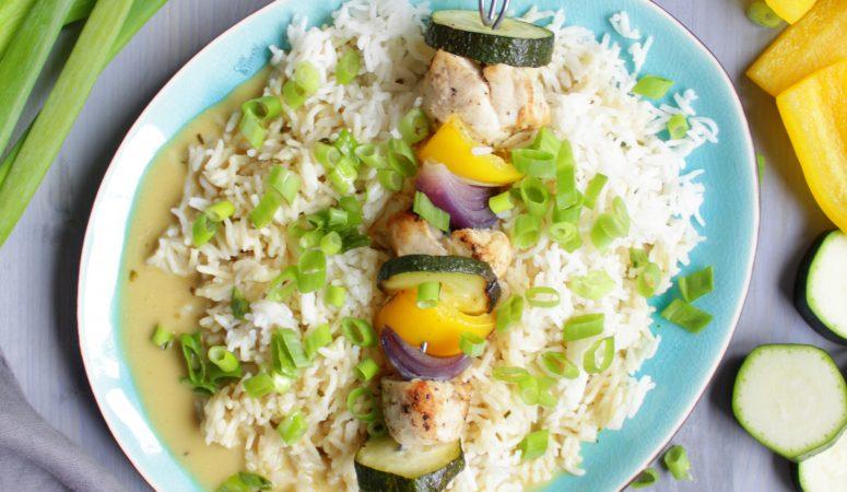 Hähnchen – Gemüse – Spieße mit Basmatireis
