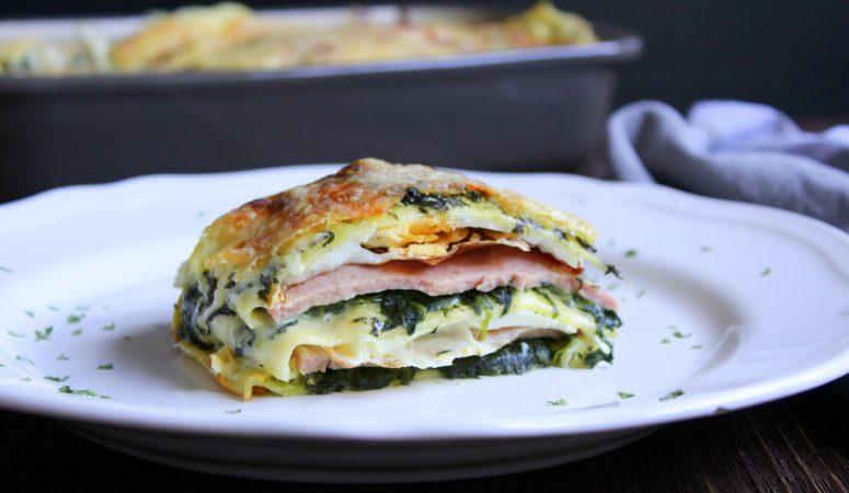 Leberkäse – Spinat – Lasagne mit Spiegelei