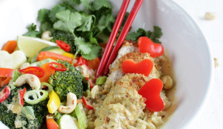 Thai – Gemüse mit Reis und Hähnchenbrust