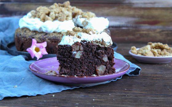 Schokoladiger Apfelkuchen mit Knusperstreusel